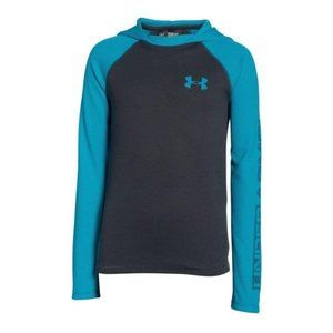 Under Armour Boys Waffle Hoodie Anthracite/Blue, L